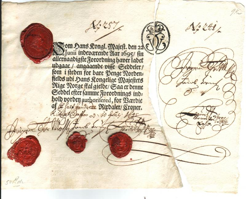 Norway 50 Rixdaler Croner 1695
